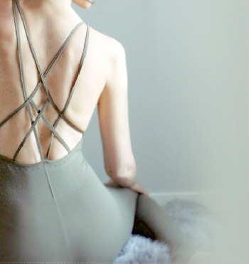 Back of woman with yoga wear clothing